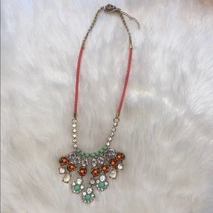 J-Crew rose flower asymmetrical necklace